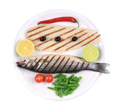 Grilled seabass with pangasius fillet. — Stock Photo