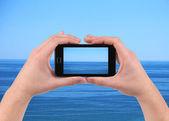 Sea reflection on screen. — Stock Photo