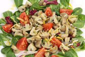 Mushroom salad with walnuts and tomatoes. — Stockfoto