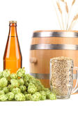 Barrel and glass with hop barley. — Stock Photo