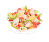 Chicken salad with potatoes and zucchini. — Stock Photo
