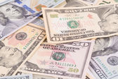 Close up of united states dollar banknotes. — Stock Photo