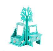 Small azure handmade cupboard. — Stock Photo