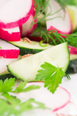 Radish salad with cucumber. — Stock Photo