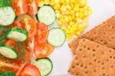 Close up of vegetables and crispy bread. — Stock Photo