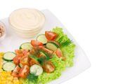 Tuna salad with sauce and vegetables. — Stock Photo