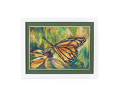 Closeup of oil painting butterfly. — Stock Photo