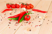 Hot peppers with tomatoes — Photo