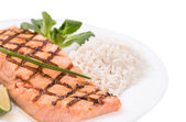 Salmon filler with risotto. — Stock Photo