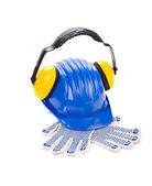 Helmet with ear muffs and gloves. — Stock Photo