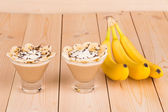 Banana smoothie in glass. — Stock Photo