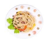 Sea salad with spaghetti. — Stock Photo