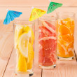Glasses with sliced fruits. — Stock Photo