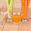 Fresh vegetable juices on table — Stock Photo #49073053
