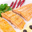 Roasted salmon on a plate — Stock Photo #49074473