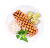 Grilled salmon with risotto. — Stock Photo