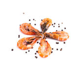 Shrimps with black pepper. — Stock Photo