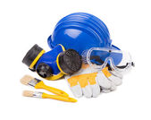 Helmet and protective goggles. — Stock Photo