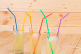 Summer lemonade on wooden background — Stock Photo