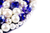 White pearl and blue strass. — Foto Stock