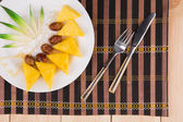 Fresh tropical fruits pineapple, dates   — Stock Photo