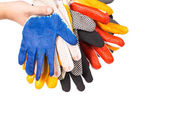 Rubber gloves on a hand — Stock Photo