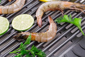 Prawn in a pan — Stock Photo