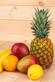 Fruit variety on wood.  — Stock Photo