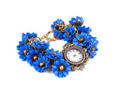 Watch with blue flowers. — Stock Photo