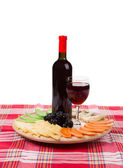 Red wine and cheese plate. — Stock Photo