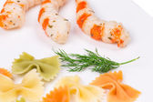 Pasta with shrimps. — Stock Photo