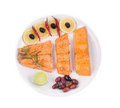 Salmon fillets with rosemary. — Stock Photo