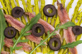 Asparagus salad with anchovies. — Stock Photo