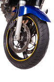 Fragment of Blue powerful motorcycle. — Stockfoto