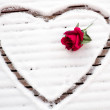 Heart drawn in the snow with a rose — Stock Photo