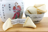 Chinese fortune cookies and teapot — Stock Photo