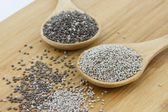 Black and white chia seeds — Stock Photo
