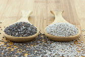 Chia seeds in black and white on wooden spoon — Stock Photo