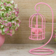 Decorative pink birdcage — Stock fotografie