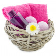 Basket with bath foam and bath bombs — Stock fotografie