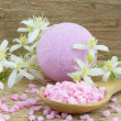 Постер, плакат: Pink bath bomb and bath salt