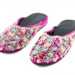 Pair of sequin slippers — Stock Photo