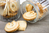 Two biscuit glass jars with biscuits — Stock Photo