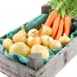 Auction crate with vegetables — ストック写真
