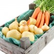 Auction crate with vegetables — Stockfoto