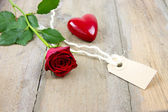 Red rose, label tag and plastic heart — Стоковое фото
