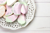 Antique dish with marshmallow sweets — Stock Photo