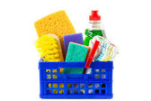 Blue crate with cleaning supplies isolated — Stock Photo