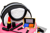 Make-up bag made of cake with accessories — Stok fotoğraf