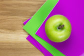 Purple and green exercise-books — Stock Photo